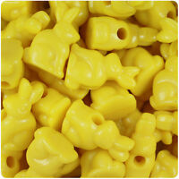 6 x 24mm Yellow Opaque Bunny Rabbit Pony Beads Opaque IDEAL FOR DUMMY CLIPS