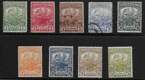 Newfoundland Scott #115-17, 119 & 122-26, Singles 1919 FVF Used/MH