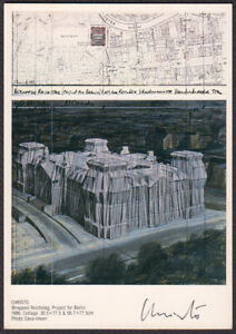 Christo Signed 4X6 postcard Wrapped Reichstag, Project for Berlin 1979 Autograph