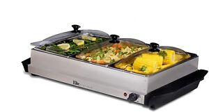 Mega-Chef Food Warmer 7.5 Quart Triple Buffet Server For Holidays and Parties