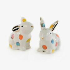 Authentic Mackenzie Childs Bunny Dotty Salt & Pepper Shakers New
