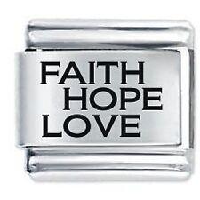 FAITH HOPE LOVE - Daisy Charms by JSC Fits Classic Size Italian Charm Bracelet