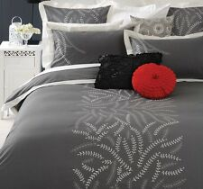 Canterbury SILHOUETTE  Grey Embroidered QUEEN Size Quilt  Doona Cover Set