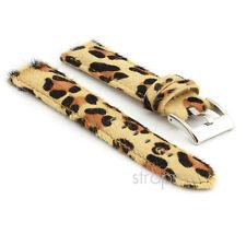 StrapsCo Faux Fur Leopard Watch Band Womens Strap in White or Beige Animal Print