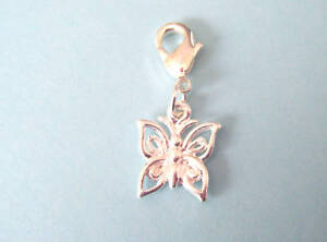 silver plated butterfly clip on charm for bracelet