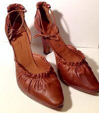 DRIES VAN NOTEN Brown Leather Strap Heels Pumps Shoes 38. Originally $750.00