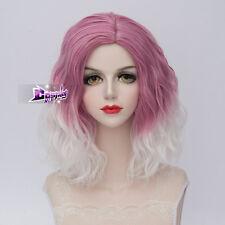 35CM Pink Mixed White Medium Curly Hair Lolita Lady Harajuku Cosplay Wig + Cap
