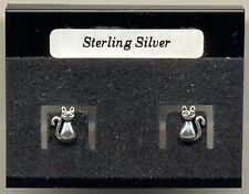 Cat Sterling Silver 925 Studs Earrings Carded