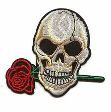 LARGE SKULL WITH ROSE Patch perfect for Leather Vest