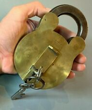More details for huge heavy antique brass padlock hobbs & co patent protector