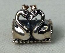 Geniune PANDORA Silver & Gold Swan Embrace Chram (C395)