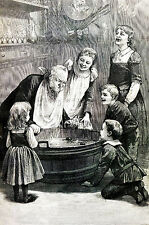 Halloween Night ALL-HALLOW EVE Dipping for Apples CHILDREN GAMES 1887 Art Matted