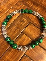 Stunning 6mm Green Malachite, Clear Crystals,Bali Silver Beads. Stretch Bracelet
