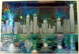 HONG KONG 10TH ANV ADMINISTRATIVE REGION HOLOGRAM STAMP SHEET 2007 MNH FIREWORKS