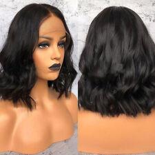 Short Bob Black Human Hair Lace Front Wigs Brazilian Remy Hair Wavy Wig