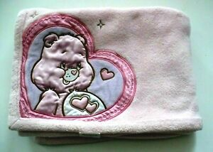 "Care Bears Pink Plush Blanket Satin Pink Bear Baby Girl Blanket 40"" x 30"""