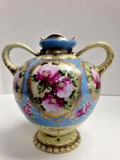 Nippon Vase, Blue & Ivory with Pink Roses & Gold Beading