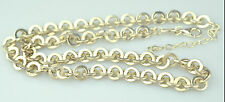 """FOSSIL BRAND HEAVY STERLING SILVER THICK CIRCLE CHAIN 16.5"""" to 18.75"""" NECKLACE"""