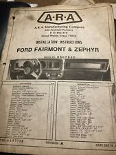 1977 ARA Manufacturing Air Conditioning INSTALL INSRUCT.FORD FAIRMONT/ZEPHYR