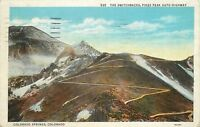 DB Postcard CO D631 Switchbacks Pikes Peak Auto Highway Colorado Springs 1936