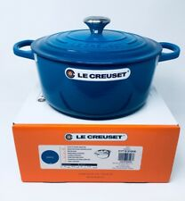 NIB Le Creuset Cast Iron 5 1/2-Qt Round French (Dutch) Oven, Marseille Blue