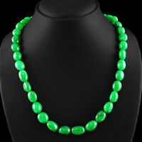 376.65 CTS EARTH MINED RICH GREEN EMERALD OVAL SHAPED BEADS NECKLACE STRAND