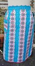 Vintage 1950's/60s Half Apron/Pinny - Mid Century Bold Floral Pattern Blue/Pink