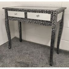 Blackened Silver Metal Embossed Mirrored Slim Leg Dressing Console Table Desk