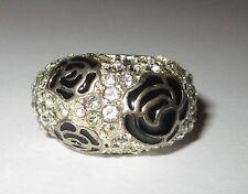 ENAMEL ROSE & RHINESTONE stunning ESTATE cocktail ring 8.5 costume silver tone