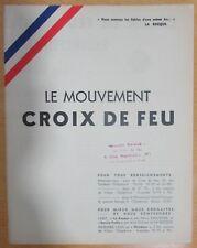 LES CROIX DE FEU TRACT DE PRÉSENTATION DU MOUVEMENT  LA ROCQUE