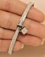 Diamond Bangle Bracelet in 14k White Gold Finish 3 Carats Wedding Gift