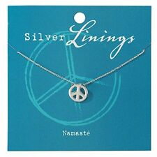 Namasté Small Detailed Peace Sign Charm Silver-Plated 18-Inch Pendant Necklace