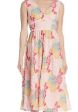NSR - Maria V-Neck Lace Floral Midi Dress - Pink - Size XL