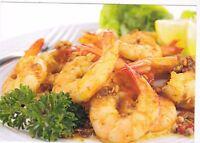 RARE fried shrimps food dish Russian modern postcard