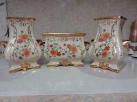 Vintage Guilded Floral Decorative Vase/Planter Trio hand decorated Eton China