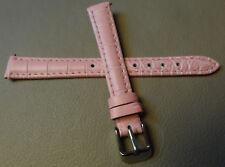 New Womens Pink Bamboo Crocodile Grain Genuine Leather Regular 12mm Watch Band