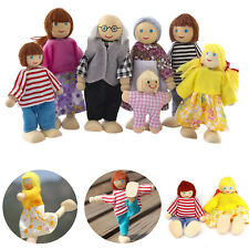 Wooden Furniture Dolls 7 People Set House Familary Miniature Doll Toy For Kids