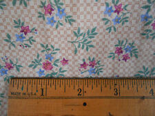 """Floral cotton print quilt fabric 5yds @45"""" wide plus 59""""x21"""" scrap pink blue tan"""