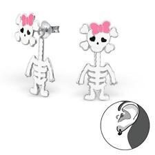 Childrens Girls Skeleton Real Sterling Silver Double Stud Earrings - Gift Boxed