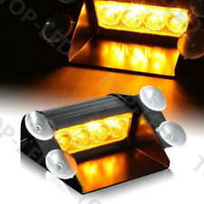4 LED Car Emergency Hazard Warn Truck Visor Dash Flash Strobe Light Amber Yellow
