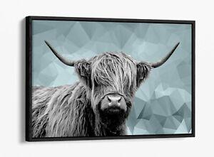 HIGHLAND COW DUCK EGG BLUE GEOMETRIC -FLOAT EFFECT CANVAS WALL ART PIC PRINT-