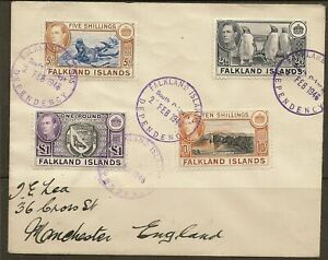 FALKLAND ISLAND SOUTH GEORGIA 1938-50 KGVI 2/6, 5/-, 10/- & £1 SGZ95/Z98 ON CVR