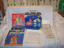 Vintage CARE BEARS 45 RPM Record Tote Carrier CASE with 4 Records & 5 cassettes