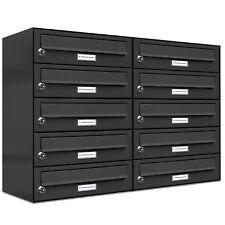 10er Premium Wand Briefkasten Anthrazit RAL 7016 10 Fach Postkasten design A4