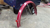 """Vintage Bicycle 26"""" Red Double White Pin Stripe Fin Rear Fender Braces Reflector"""