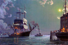 John Stobart Print - Boston: Departure, Securing the Towline c. 1885
