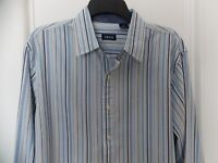 New Mens IZOD Long Sleeve Cotton Dress/Casual Shirt - Medium - Blue/Gray Stripe