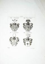1816 Wappen Kupferstich Tyroff von Uplegger Villa Nova van Voorst van der Voort