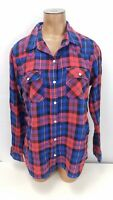 Forever 21 Flannel Shirt Womens Size Medium Pearl Snap Plaid Button Up
