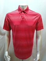 Nike Golf Men's Medium Polyester Dri-Fit  Red Striped Short Sleeve Polo Shirt